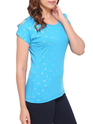 blue printed cotton tee - 15113484 - Standard Image - 2