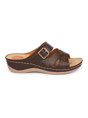 brown faux leather slippers - 15113658 - Standard Image - 2