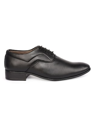 black Leatherette lace-up oxford - 15113785 - Standard Image - 2