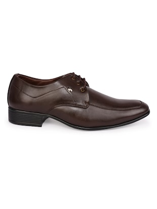 brown Leatherette lace-up derby - 15113786 - Standard Image - 2