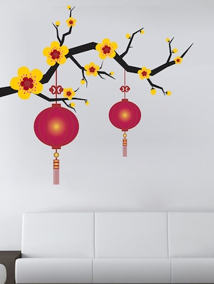 Blooming Flowers with lantern Wall Sticker - 15114361 - Standard Image - 2