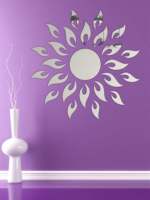 Sun With Extra FlameSilver Acrylic Mirror Sticker - 15114455 - Standard Image - 2