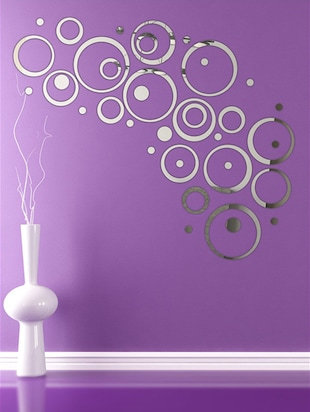 Ring & Dots 4 Set Silver Acrylic Mirror Sticker - 15114458 - Standard Image - 2