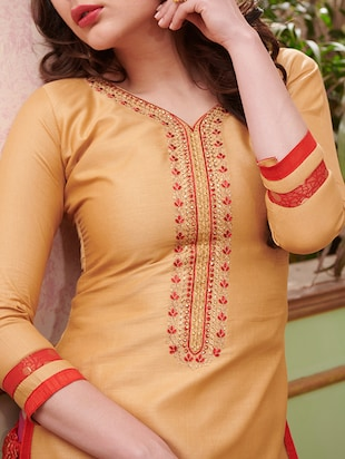 Embroidered unstitched salwar suit - 15114632 - Standard Image - 2
