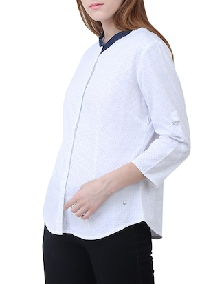 white cotton polka dotted shirt - 15114751 - Standard Image - 2