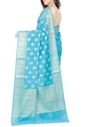sky blue woven saree with blouse - 15114884 - Standard Image - 2