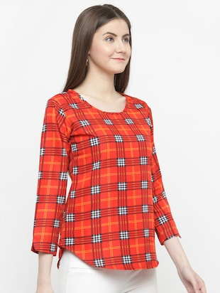 orange checkered crepe top - 15115068 - Standard Image - 2