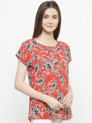 orange printed crepe top - 15115072 - Standard Image - 2