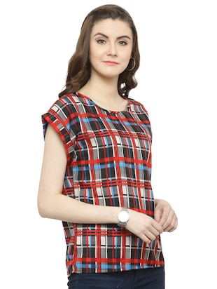 red checkered crepe top - 15115242 - Standard Image - 2