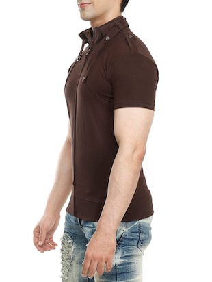 brown cotton t-shirt - 15115305 - Standard Image - 2