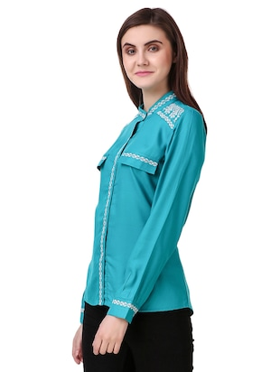 blue cotton embroidered shirt - 15115664 - Standard Image - 2