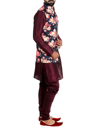 multi colored cotton nehru jacket - 15115903 - Standard Image - 2