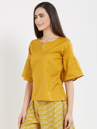 solid yellow cotton top - 15116255 - Standard Image - 2