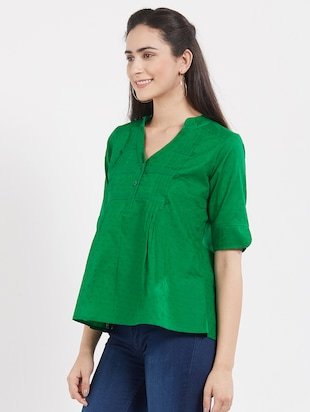 solid green cotton top - 15116266 - Standard Image - 2