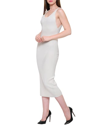 solid white viscose bodycon dress - 15116946 - Standard Image - 2