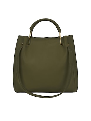 green leatherette  regular tote - 15117129 - Standard Image - 5