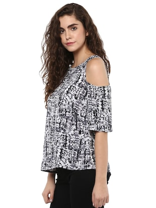 black crepe printed straight top - 15117160 - Standard Image - 2