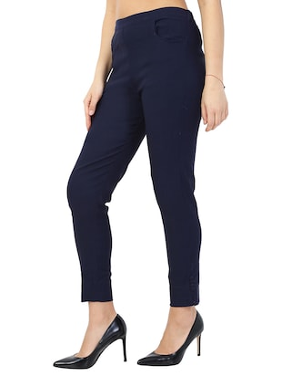 navy blue solid front trousers - 15117177 - Standard Image - 2