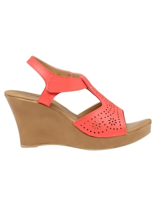 pink faux leather closed back wedges - 15117326 - Standard Image - 2