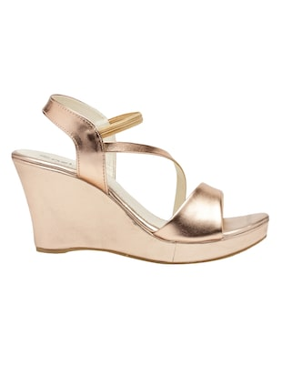 metallic faux leather closed back wedges - 15117423 - Standard Image - 2