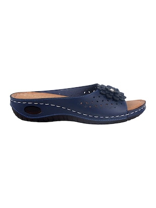 blue faux leather slippers - 15118170 - Standard Image - 2