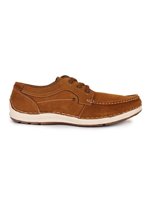 brown leatherette lace up sneaker - 15118292 - Standard Image - 2