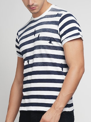 blue cotton striped t-shirt - 15118481 - Standard Image - 2