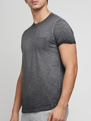 grey cotton washed tshirt - 15118485 - Standard Image - 2