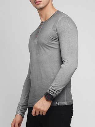 grey cotton washed t-shirt - 15118496 - Standard Image - 2