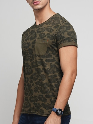 olive green cotton all over print t-shirt - 15118516 - Standard Image - 2