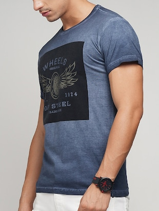 blue cotton chest print t-shirt - 15118538 - Standard Image - 2
