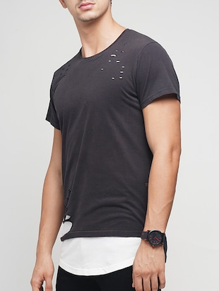 black cotton ripped tshirt - 15118544 - Standard Image - 2