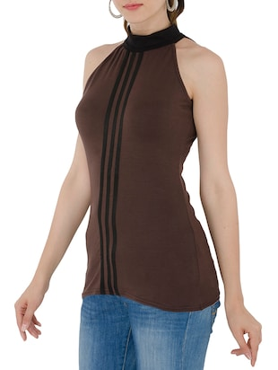 solid brown viscose top - 15118561 - Standard Image - 2