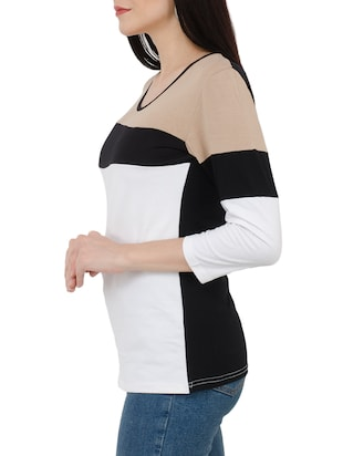 white color block viscose tee - 15118566 - Standard Image - 2