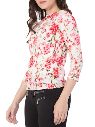red floral printed top - 15119020 - Standard Image - 2