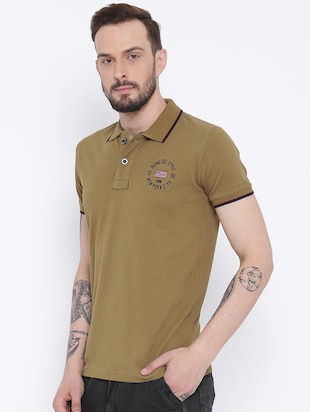 brown cotton polo t-shirt - 15119126 - Standard Image - 2