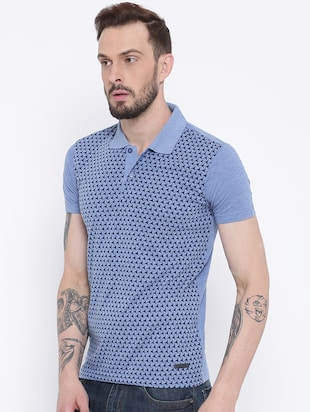 blue cotton front print t-shirt - 15119138 - Standard Image - 2