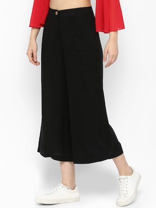 solid black rayon culottes - 15119313 - Standard Image - 2