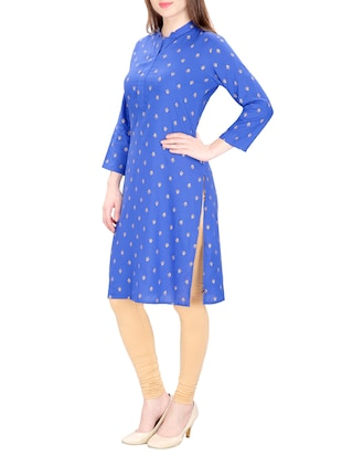 blue cotton straight printed kurta - 15120869 - Standard Image - 2