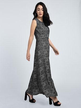 Pleated neck maxi dress - 15121396 - Standard Image - 2