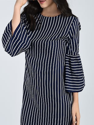 Bell sleeved striped shift dress - 15121410 - Standard Image - 5