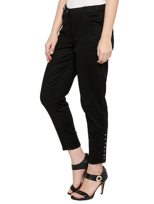 solid black cotton cigarette pant - 15122337 - Standard Image - 2