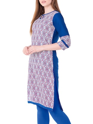 blue cotton straight kurta - 15122368 - Standard Image - 2