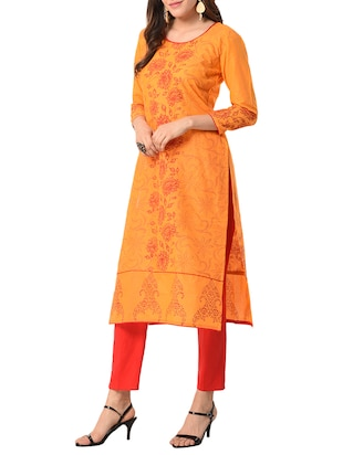 yellow cotton straight kurta - 15122542 - Standard Image - 2