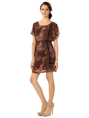 brown printed blouson dress - 15123841 - Standard Image - 2