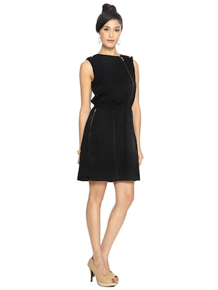 black solid blouson dress - 15123858 - Standard Image - 2