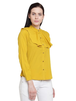 yellow solid crepe shirt - 15124114 - Standard Image - 2