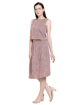 red printed crepe a-line set - 15124378 - Standard Image - 2