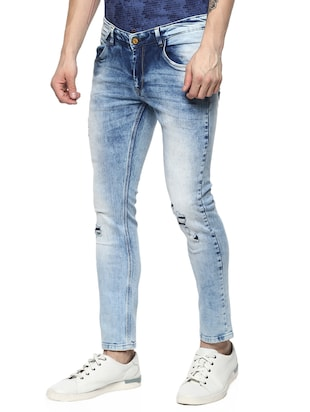 blue cotton ripped jeans - 15124462 - Standard Image - 2