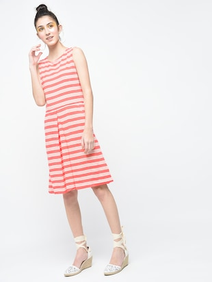 pink striped cotton a-line dress - 15136251 - Standard Image - 2